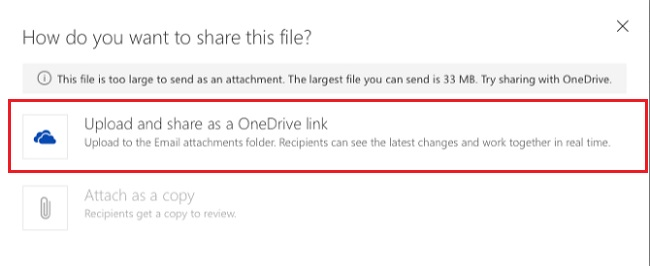 Attach Large Files On Outlook With OneDrive - E - mail tips and tricks
